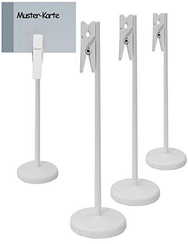 HomeTools.eu - 4X Tisch Tafel Holz Clip mit Klammer und Stand-Fuß | Buffet, Party, Feier, Hochzeit, Deko | Vintage Landhaus, weiß, 4er Set