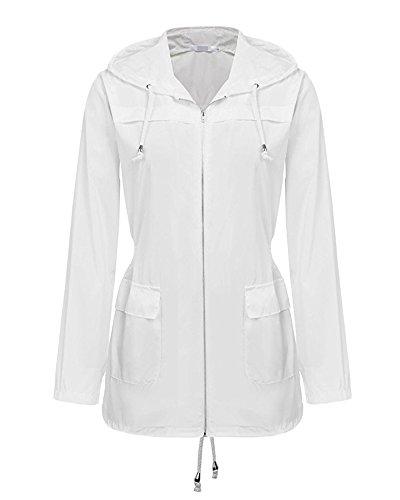 Donne Cappotti Di Pioggia Giacca Impermeabile Con Cappuccio Impermeabile Pois Impermeabili Poncho Bianco