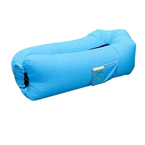 QIANGUANG Aufblasbare Liege Tragbare Luft Sofa Couch Bett für draußen Faulenzen Wandern Camping Strand Angeln Reisen Garten Schlafsäcke Wasserdicht Langlebig Selbstaufblasbare Matratzen (Blaues Netz) -