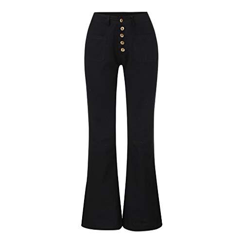 GNYD Damen Bootcut Jeans Flare Hosen Mittlere Taille Bell Jeans Mode Stretch Slim Hose Länge Weite Bein Jeanshosen