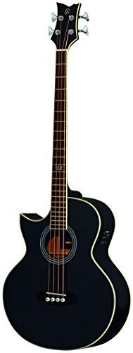 Ortega Guitars D1-4LE-BK Akustikbass 4-Saiter elektrifiziert Linkshänder schwarz hochglänzendes Finish mit hochwertigem Gigbag , Ledergurt und Straplocks