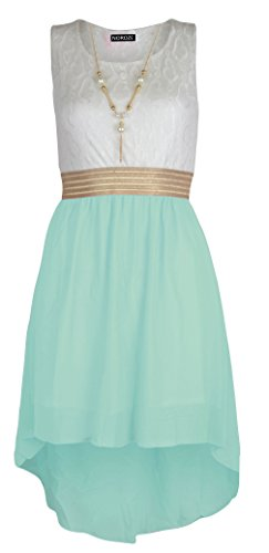 Girls Sleeveless Waist Band Chiffon Dress with Free Neckless Accessory