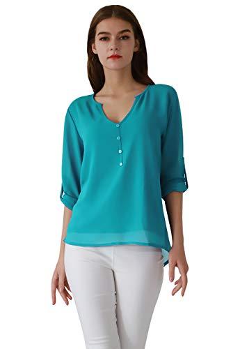 OMZIN Damen Casual Chiffon Sommer Bluse V-Ausschnitt Langarm Top Shirts Himmelblau XXL - Sky Blue Chiffon