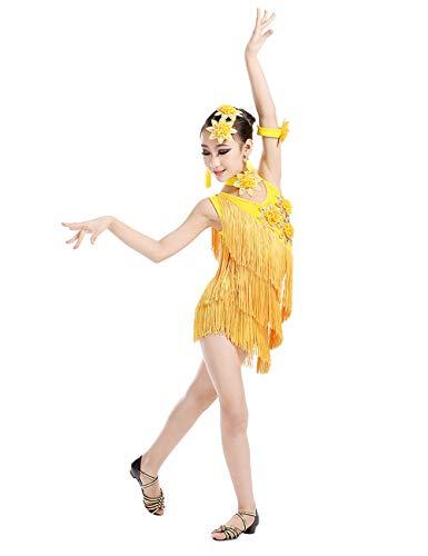 Zhhlinyuan Latein Dance Wettbewerb Kleid für Mädchen - Kinder Ballroom Pailletten Quasten Ärmellos Latein Dance Kleid Karneval Aufführung