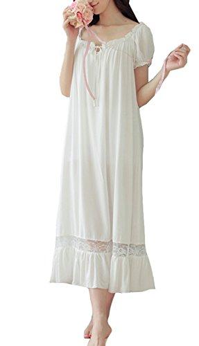 Cheerlife Damen Nachthemd Baumwolle Sleepshirt kurzarm Nachtkleid Spitze Schlafkleid Negligee Nachtwäsche Lang Vintage S Weiß (Fantastische Vintage-nachthemd)