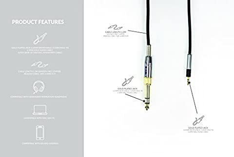 1.2m Replacement Audio upgrade Cable For Sennheiser Momentum + Audio Technica Headphones - GOLD