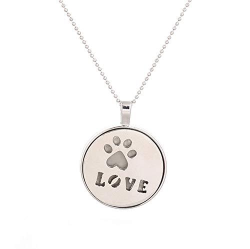 Your boy-HT Leuchtende Halsketten Silber Farbe Haustiere Paw Dog Cat Halskette Glowing In Dark Anhänger Halsketten Collares Maxi Choker Schmuck (Cat Boy Collar)