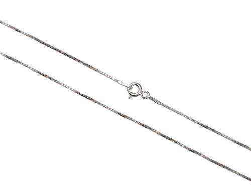 AKA Gioielli - Collana Donna in Argento Sterling 925 Rodiato - Catenina Modello Veneziana 1 mm - Lunghezza: 40 cm