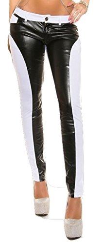 Sexy extravagante Pantalon Jeans avec insert en cuir Weiß