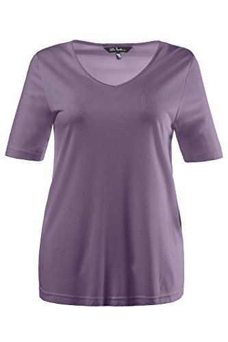 Ulla Popken Damen große Größe bis XXXL, T-Shirt, Unterziehshirt, Jersey-Shirt, Basic , Slim Fit , V-Ausschnitt, Halbarm , 704316 Violett