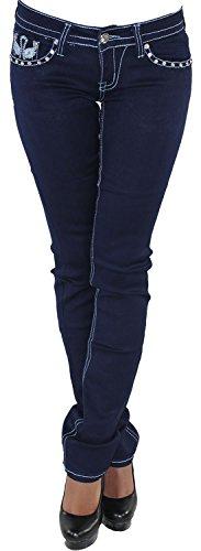 Jeans donna jeans strech sui pantaloni a gamba dritta taglio dritto blu w34