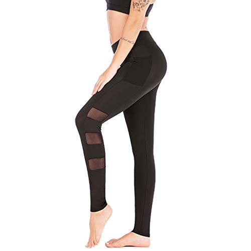 Damen Yogahose Mit SteigbüGel, Weant Frauen 3/4 Yoga Hose Spleißen High Waist Sexy Sport Yogahose Leggings Sporthose Jogginghose Workout Fitness Caprihose Trainingshose S-XL -