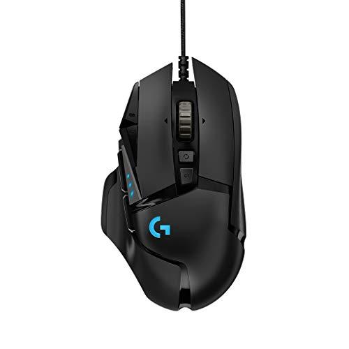 Logitech G502 HERO Gaming-Maus (mit HERO Sensor, RGB, 16.000 DPI, 11 programmierbare Tasten, Laptop- und PC-Computermaus, 5 anpassbare Gewichte, Balance-Tuning, Deutsche-Verpackung) schwarz (Grund Computer-software)