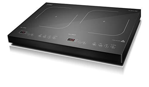 CASO Pro Menu 3500 - mobiles Doppelinduktionskochfeld mit Sensor Touch Display, Induktions-Kochplatte mit leistungsstarken 3500 Watt, 12 Leistungs- und Temperaturstufen, Smart Control