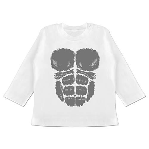 Karneval und Fasching Baby - Gorilla Kostüm Fasching - 6-12 Monate - Weiß - BZ11 - Baby T-Shirt Langarm (Weiße Gorilla Kostüme)