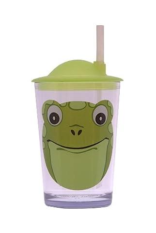 Epicurean 39RQ097F Acrylic SAN Friendly Faces Children's Green Frog Design Tumbler with Straw Lid, 7.5 x 7.5 x 14.2 cm,