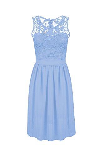 Frauen Ärmellose Kleid Hochzeit Brautjungfer Kleid Blue