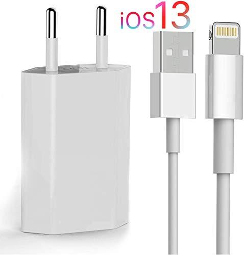 OKCS Originals Ladeset [USB Ladekabel 2 m mit Netzteil 1000 mAh] kompatibel mit iPhone 11, 11 Pro, 11 Max, XS, XR, XR Max, X, 8, 8 Plus, 7, 7 Plus, iPad 4, Pro, Mini, 2 - in Weiß