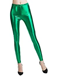 d1f52bcf3b93 Hibote Punk Rock PU Leder Kunstleder Leggings Frauen Hosen Lila Metallic  Gold Shiny Sexy Glänzende Legging
