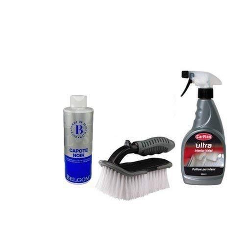 BELGOM Kit de nettoyage et remise à neuf pour capote noire de cabriolet, avec imperméabilisant, nettoyant et brosse
