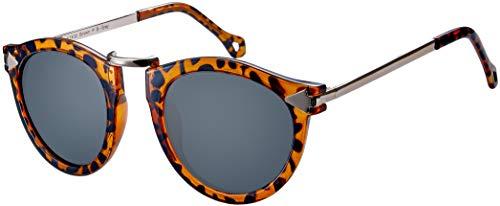 La Optica B.L.M. UV400 CAT 3 CE Damen Sonnenbrille Rund ohne Nasensteg - Glänzend Leo (Gläser: POLARISIERT Grau)_LO15 Br P B-Grey