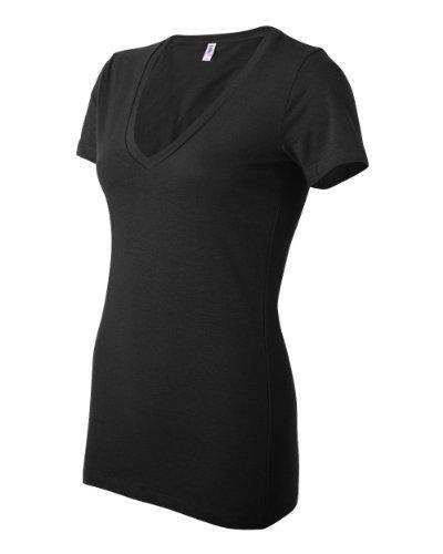 Bella+Canvas Damen Jersey T-Shirt mit V-Ausschnitt 6035 Black M (Jersey-t-shirt Belle)