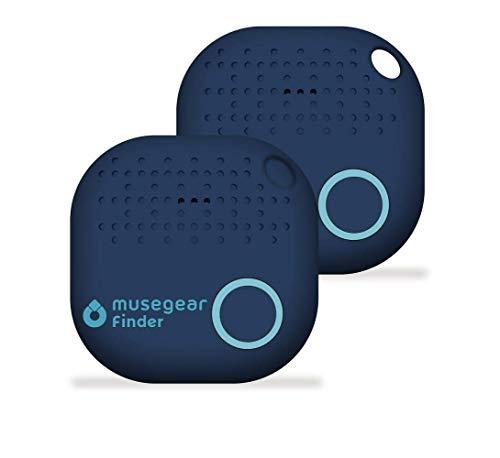 musegear® Schlüsselfinder mit Bluetooth App I 2er Pack I Version 2 I Keyfinder laut für Handy in dunkelblau I GPS Ortung/Kopplung I Schlüssel Finden