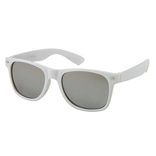 Chic-Net Sonnenbrille rot weiß Nerdbrille silber gold Rainbow verspiegelt 400 UV Wayfarer weiß silber