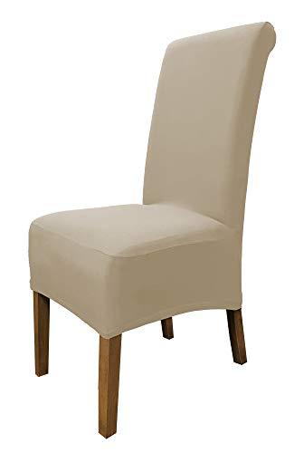 SCHEFFLER-Home Emma 2er Pack Stuhlhussen Stretch, Stuhlabdeckung elastisch, Cotton Husse Spannbezug mit Gummiband, beige -