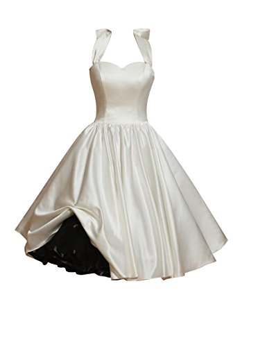 Find Dress Femme Elégant Robe de Soirée/Cocktail/Cérémonie Style Empire Décolleté au dos en Satin Elastique Ivoire