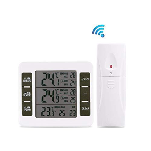CAOQAO ThermomèTre HygromèTre NuméRique avec Alarme De TempéRature,Station MéTéO IntéRieure ExtéRieure sans Fil avec Capteur LED Ecran Horloge