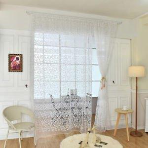 ELECTROPRIME Window Voile Yarn Curtain Door Panel Sheer Tulle Valance Balcony Screen WHT