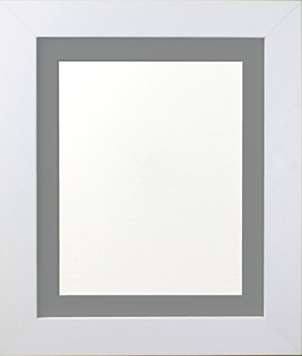 Frames By Post Metro White Picture Photo Frame with Dark Grey Mount ...