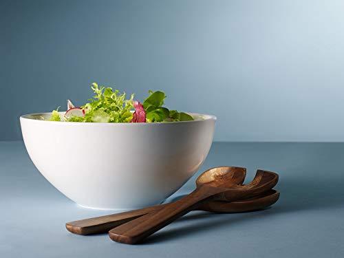 Villeroy & Boch Artesano Original Ensemble à Salade, 3 pièces, Porcelaine Premium/Bois, Blanc
