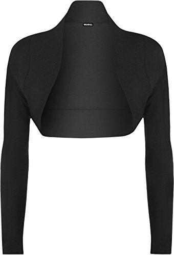 WearAll - Grande Taille Manches Longues Ouvrir Bolero Cardigan Mesdames Court Haut - Hauts - Femmes - Noir - 48