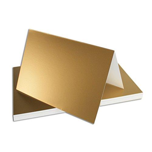 75x Falt-Karten DIN A6 in Gold Metallic - 10,5 x 14,8 cm - Blanko - Doppel-Karten - 250g/m²