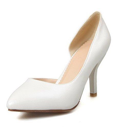 AgooLar Femme Pointu Tire Pu Cuir Couleur Unie Stylet Chaussures Légeres Blanc