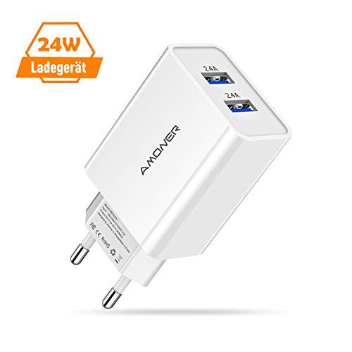 Amoner USB Ladegerät Stecker Netzteil 24W 2-Port USB Ladegerät für iPhone, Galaxy, iPad, Sony, HTC, Motorola, LG und Weitere Geräte