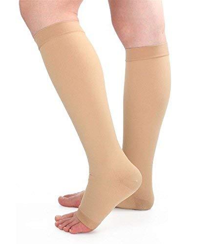 Runee Hochwertige Medical 15-20mmHg Offener Fuß Compression Socke Knie Hohe Strumpfwaren Strumpf für Schwellungen, Krampfadern, Ödemen Vein, Spider Vein, Beige, XXX-Large -