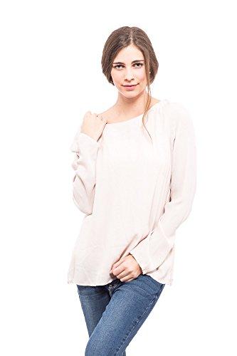 Abbino Sabrina Damen Shirts Tops - Made in Italy - Frühjahr Sommer Basics Tshirts T Damenshirts Damentops Langarm Taillenlang Rundhals Unifarben Sale Feminin Lässig Sexy Spitze Festlich - 5 Farben Rosa
