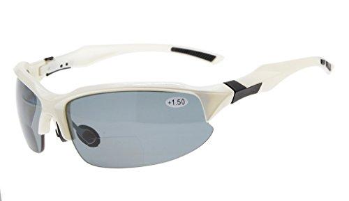 Eyekepper TR90 Unzerbrechliche Sport Bifocal Sonnenbrillen Baseball Laufen Angeln Fahren Golf Softball Wandern Halbrand Lesung Brille Weiß Frame grau Lens +2.0 -