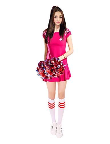 (ZooBoo Damen Cheerleading Kostüm Set - Cheerleader Kleid Sexy Anzug High School Mädchen Studentin Übung Performance Karneval Halloween Party Uniform mit 2 Pompons 1 Paar Socken (Roserot, XXXL))