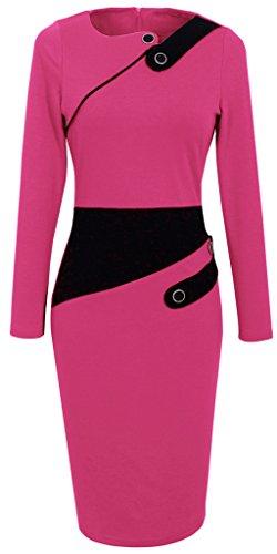 HOMEYEE Damenkleid Business Kleid Partykleid Pencil Etuikleider B231, B63 Rosa