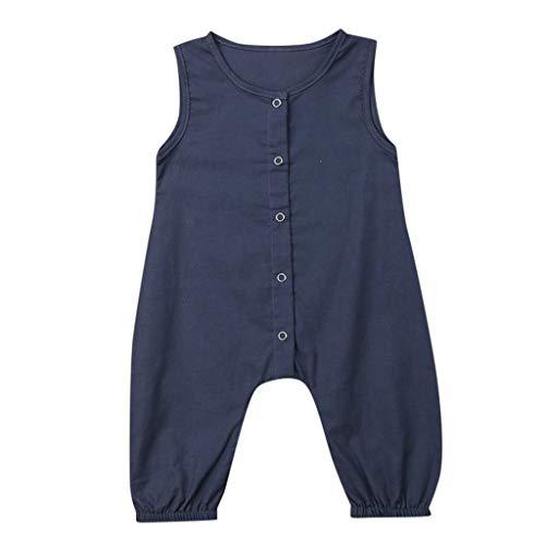 Lucky Mall Unisex Einfarbige Ärmelloser Overall mit Knopf, Mode Overall Sommer Baumwollmischung Strampler Atmungsaktive Outfits Bequemes Baby-Krabbelkostüm