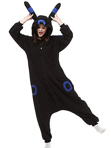 Casa Pyjamas Tieroutfit Schlafanzug Tier Onesies Sleepsuit mit Kapuze Erwachsene Unisex Overall Halloween Kostüm (X-Large, Blau Umbreon)