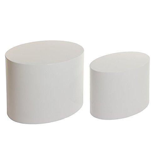 Set di 2 tavolini ovali laccati bianco