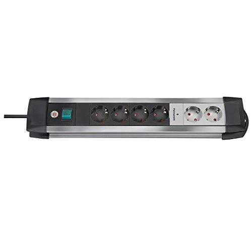 Brennenstuhl Premium-Alu-Line Steckdosenleiste Mehrfachstecker Mit Schalter Schaltbar 6 Fach 3 m