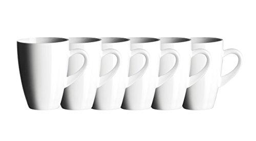 Jolanda 927833 Mug à Café 35 cl Porcelaine Blanc 6 Pièces