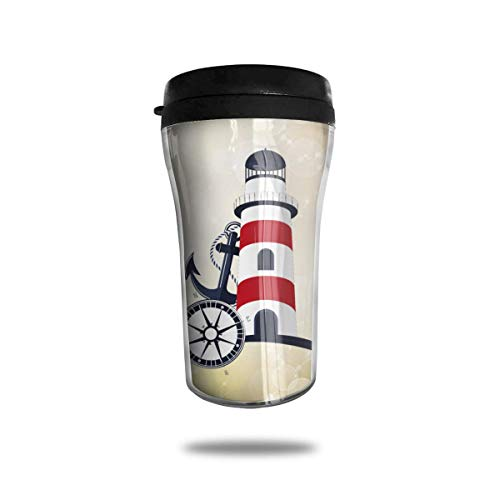 Anchors and Lighthouses 8.45oz Travel Coffee Mug Cup Double Insulated with Leakproof Water Bottle - Leak-proof Insulated Travel Mug