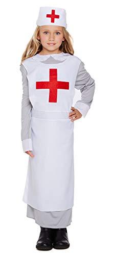 Fancy Me Mädchen 1. Weltkrieg Vintage Krieg Krankenschwester Florence Nightingale Kostüm Kleid Outfit 4-12 Jahre - Weiß, 7-9 years